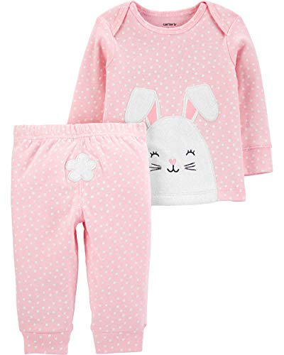 Carter's Infant Girls Happy Easter Outfit Bunny Rabbit Shirt & Leggings Set (3 Months, Pink/White)