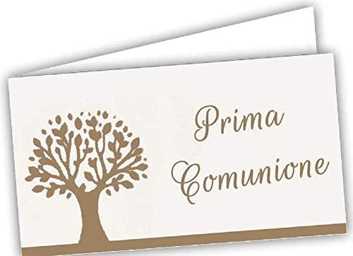 Gicaprice 60 Bigliettini Bomboniera Prima Comunione Personalizzati, con Stampa Omaggio, Pronti all'utilizzo (Modello 11)