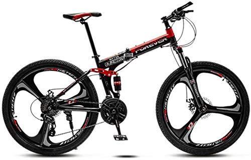 HongLianRiven Marco Plegable for Bicicleta de Acero, 24 Pulgadas de 3 Ruedas de radios de Doble suspensión Fuera del Camino de la Bicicleta de la Bicicleta for el Adulto, Doble Freno de Disco 5-25