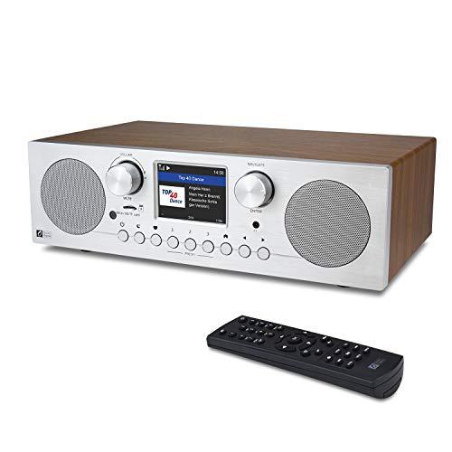Ocean Digital WR-800F - Radio internet WiFi   FM con doppia sveglia, timer, riproduzione di schede micro SD TF e display a colori da 2,8 pollici, supporto UPnP e DLNA