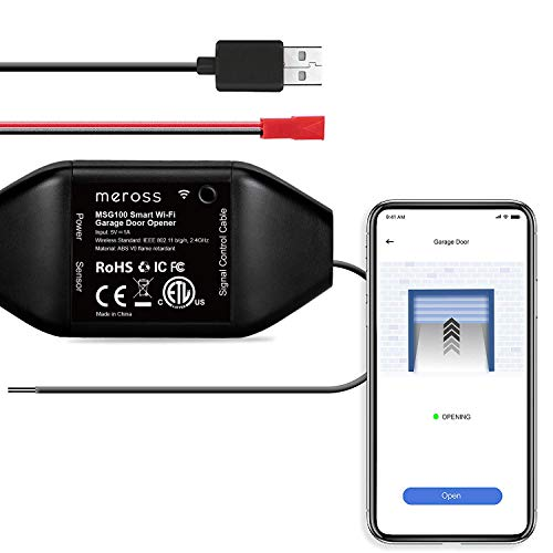 meross Smart Garage Door Opener Remote, APP Control, Compatible with Alexa, Google Assistant and SmartThings, Multiple Notification Modes, No Hub Needed Black New Version