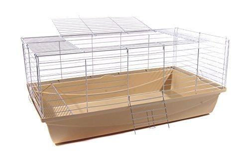 Hasenkäfig Kaninchenkäfig Meerschweinchenkäfig Kleintier Bunny 100x54x48 beige