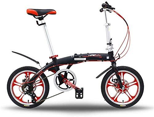 Bicicleta plegable con marco de aluminio ligero, 6 velocidades, 16 pulgadas, plegable, para adultos, con doble freno de disco