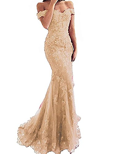 DarlingU Women's Mermaid Off-The-Shoulder Prom Evening Party Dresses Beaded Lace Appliques Formal Gowns Champagne Custom