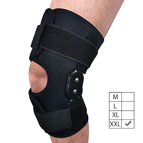 FunCee Hinged Knee Brace, 4 Available Sizes Adjustable Compression Wrap for Men & Women, Knee...