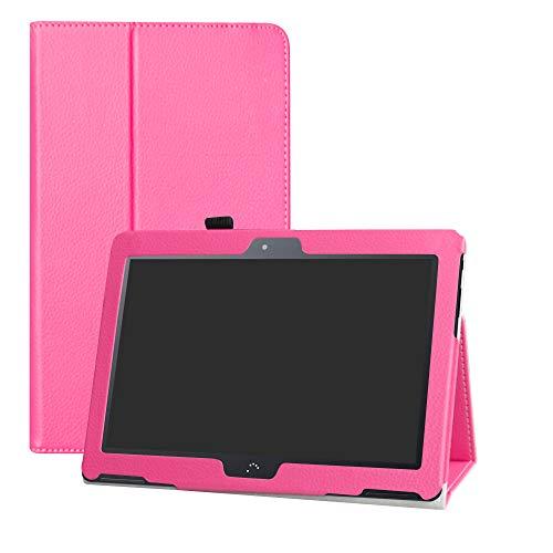 LFDZ BQ M10 Funda, Soporte Cuero con Slim PU Funda Caso Case para 10.1' bq Aquaris M10 FullHD FHD HD/Aquaris M10 Ubuntu Edition Tablet,Magenta