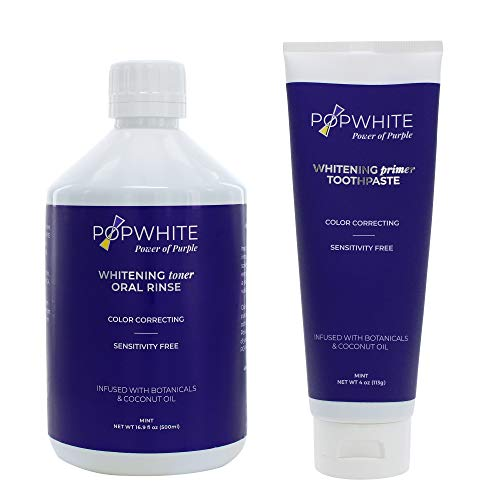 POPWHITE Purple Power Duo Natural Teeth Whitening with 4 oz Primer Toothpaste and 16.9 oz Whitening Toner Oral Rinse, Botanical Formula for Safe, Gradual Teeth Whitening at Home, Mint Flavor