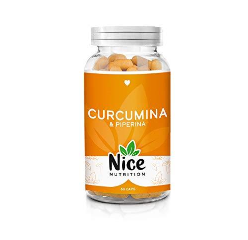 Curcuma curcumina e piperina alto dosaggio - Perdita di peso - Integratore Nice Nutrition - Antinfiammatorio - Antidolorifico - Antiossidante - Antiage - Bruciagrassi - 60 caps | Prodotto in Italia