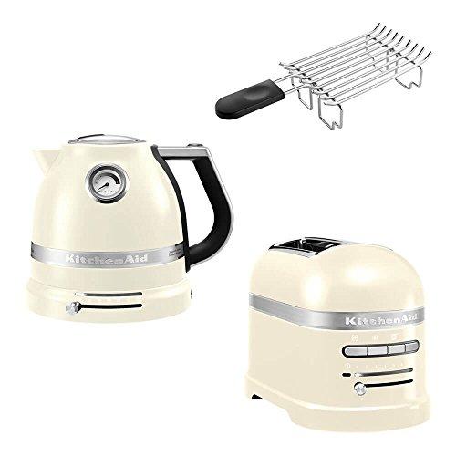 KitchenAid Artisan Frühstücks Set | incl. Wasserkocher 5KEK1522, 2 Scheiben Toaster 5KMT2204 und Brötchenaufsatz | für einen perfekten Start in den Tag! (Creme)