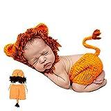 1 Packung Neugeborenes Fotografie Kostüm Nette Karikatur-Löwe-Schlafmütze und Hosen-Baby Crochet...