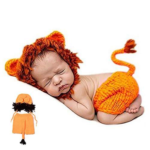 1 Packung Neugeborenes Fotografie Kostüm Nette Karikatur-Löwe-Schlafmütze und Hosen-Baby Crochet Strick Outfit Kostüm Lustiger Entwurf Foto Props für Baby (orange)