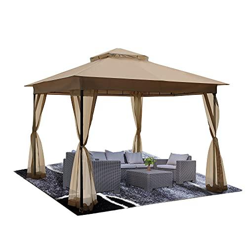DikaSun Gazebo for Patio 10' x 10' Dual Roof Gazebo with Curtains,...