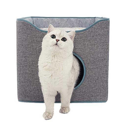 Tofern Casetta pieghevole per gatti Cozy Cat Condo Cuscino reversibile Cat Cube Lettino per gatti resistente ai graffi Grotta grigio