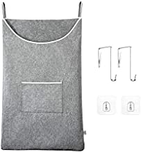 """KEEPJOY Door-Hanging Laundry Hamper,Space Saving Hanging laundry basket with Stainless Steal and Adhesive Hooks, Thicken Waterproof Hanging Laundry Bag Large Size 35""""x22"""" for Laundry Over Door"""