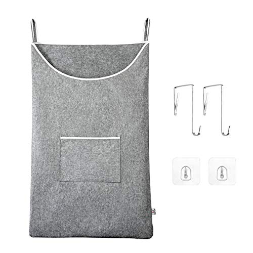 "KEEPJOY Door-Hanging Laundry Hamper,Space Saving Hanging laundry basket with Stainless Steal and Adhesive Hooks, Thicken Waterproof Hanging Laundry Bag Large Size 35""x22"" for Laundry Over Door"