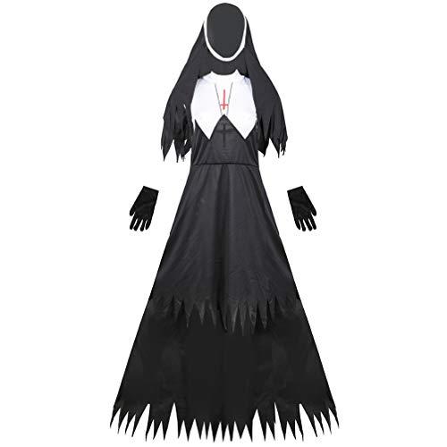 PRETYZOOM Horror Halloween Nonne Kostüm Gruselige Kleidung Scary Gothic Kleid mit Schleier für Damen Herren Fasching Karneval Robe Pastor Priester Cosplay Zombie Vampir Verkleidung