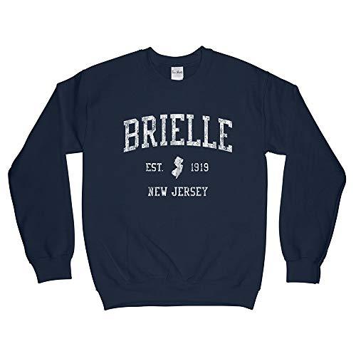 Brielle New Jersey NJ Sweatshirt - Vintage Athletic Sports Retro State Design - Adult (Unisex)