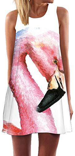 Ocean Plus Mujer Verano Flamenco Camisola Vestido De Playa Top Sin Mangas Trapecio O Corte En A Vestido Oeste (S (EU 34-36), Flamingo con Pico Negro)