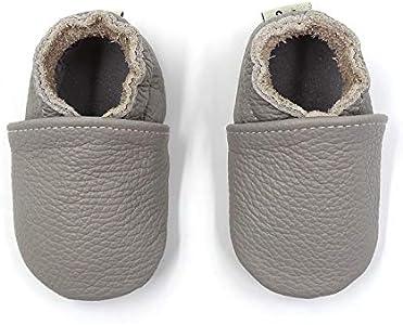 Zapatos de bebé de Cuero Suave Pantuflas Infantiles Patuco de Suela Suave Zapatillas Pantuflas de Cuero-Niño/Niña Zapatos de Cuero Suave para bebés. (19/20 EU(6-12 Meses), Gris)