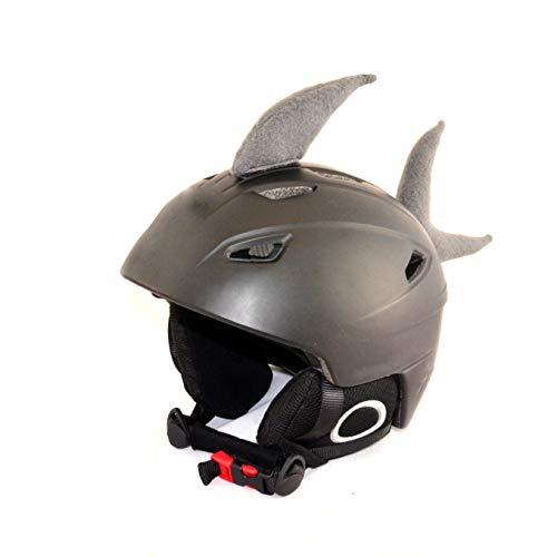 Helm-Ohren Tierohren für den Skihelm, Snowboardhelm, Kinder-Helm, Kinder-Skihelm oder Motorradhelm - Helm-Cover für Kinder und Erwachsene HELMDEKO (Hai Grau)