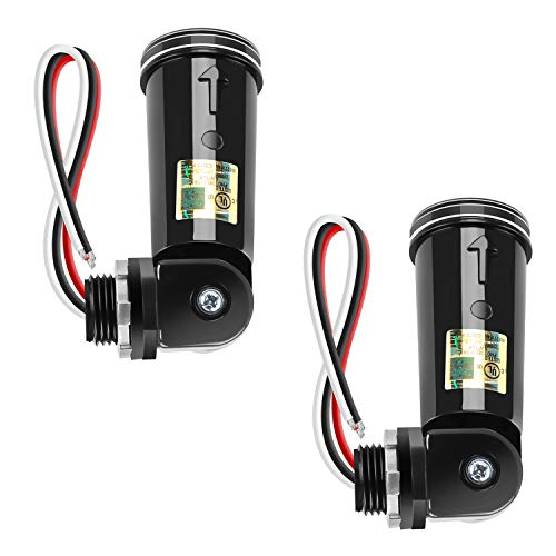 2 Pack Photocell Sensor Switch, UL Listed Outdoor Conduit Lighting Control with Swivel Mount, IP65 Dusk to Dawn Hardwired Photoelectric Switch for LED Post Light, Wall Pack, Shoebox, Porch Lights