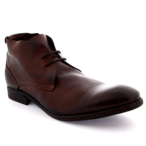 H by Hudson Mens Osbourne Work Formal Leather Vintage Winter Chukka Boot - Brown - 11