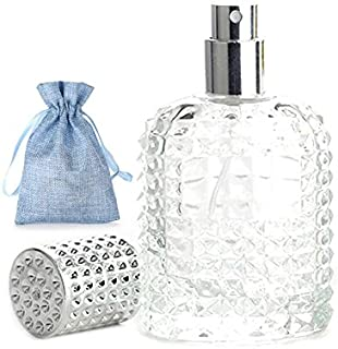 JJKMALL 50ml Thick Clear Glass Fine Mist Spray Scent Aftershave Luxury Perfume Bottle Empty Atomizer Bottle Makeup Tool 1pc free Funnel Filler 1PC Free 3ml dropper 1pc free Storage bag