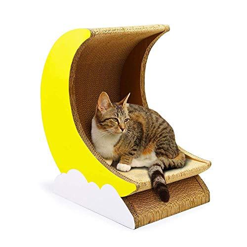 Cxjff Premium Kat Krabbord -2 in 1 Katten En Kitten Lounge- Gegolfd Papier Kat Speelbord -Kat Nest Kat Huis Kat Bowl-Met Gratis Kattenkruik - Trojan + Maan