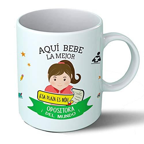 Planetacase Taza Desayuno Aquí Bebe la Mejor opositora del Mundo Regalo Original opositores Estudiantes de oposiciones examenes Ceramica 330 mL