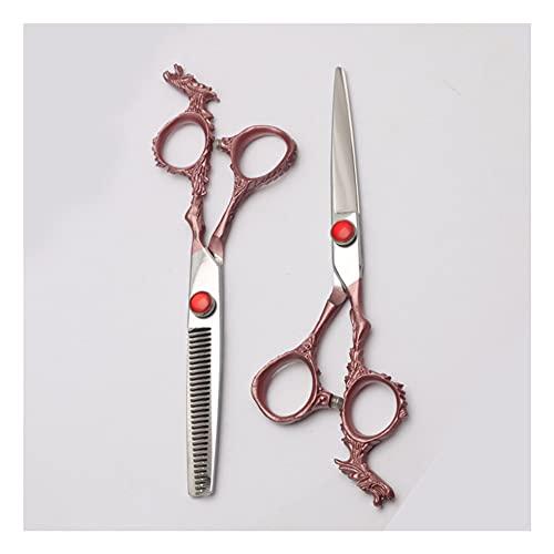 XJPB Juego de Tijeras de Corte de Pelo, Conjunto de Tijeras de peluquería, Acero Inoxidable japonés 440C, para barbero, salón, hogar, 6.0 Pulgadas, Mango de dragón