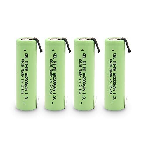 QBLPOWER NiMh 1.2V AA 2000mAh Razor Shaver Battery with Solder Tab for Braun, Norelco, Remington Shaver Models (4PCS AA2000mAh Battery)