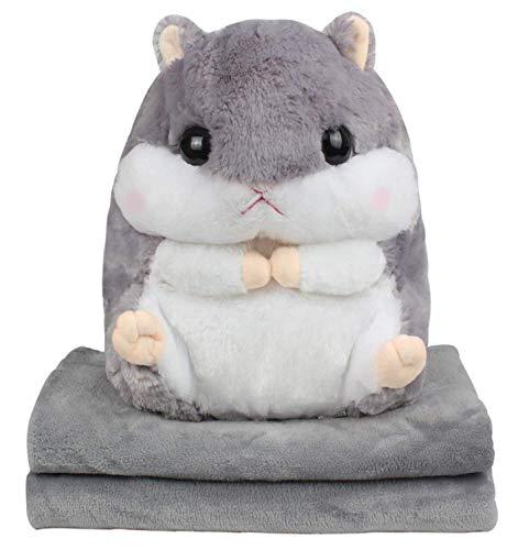 Kosbon 3 in 1 Cute Hamster Plush Stuffed Animal Toys Throw Pillow Blanket Set