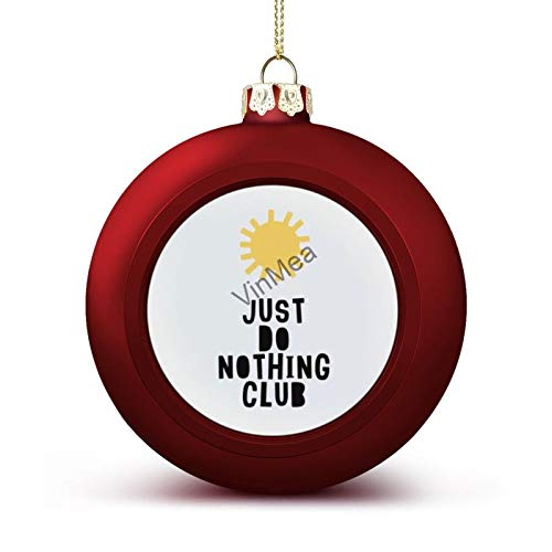 Xmas Round Ornament Ball Do Nothing Club Vintage Retro Red Christmas Ball for Christmas Tree Christmas Decoration