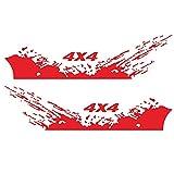 Dounan Etiquetas Engomadas Del Coche,4PCS Pegatinas de coche 4X4 Off Road (40 * 10cm) + Calcomanía gráfica de montaña (190 * 50cm) Pegatina para accesorios de exterior de camión de coche Rojo