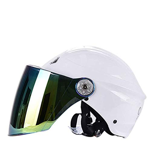 YINUO-Casque Batterie électrique pour casque de moto pour hommes et femmes, quatre saisons, hiver universel et chaud, casque anti-buée et léger (Color : White)