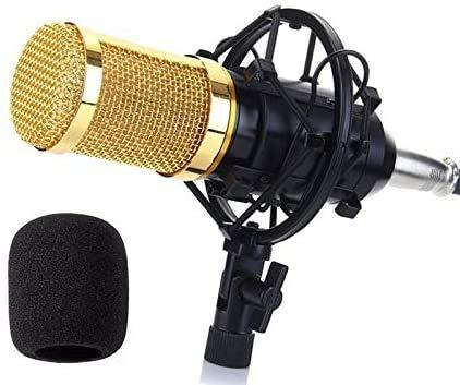 Microfone Condensador para Estúdio, Transmissão de Gravação de Som com Montagem Antichoque de 3,5 mm,Cabo de áudio e Microfone