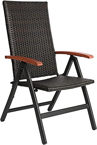 FIXKIT Chaise de Jardin, Chaise Longue en Rotin Réglable en 5, Transat Jardin avec Accoudoirs Larges, Structure en Aluminium, Convient pour Jardin, Terrasse, Plage (Marron)