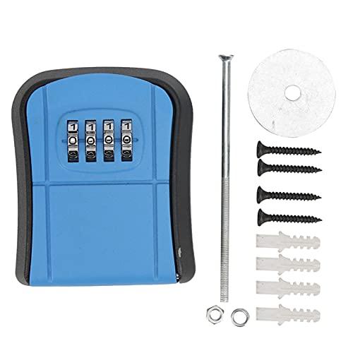 Caja de llaves con bloqueo de código, caja de seguridad con combinación de llaves que posee alta seguridad para la oficina, para interiores, para exteriores, para el hogar(blue)