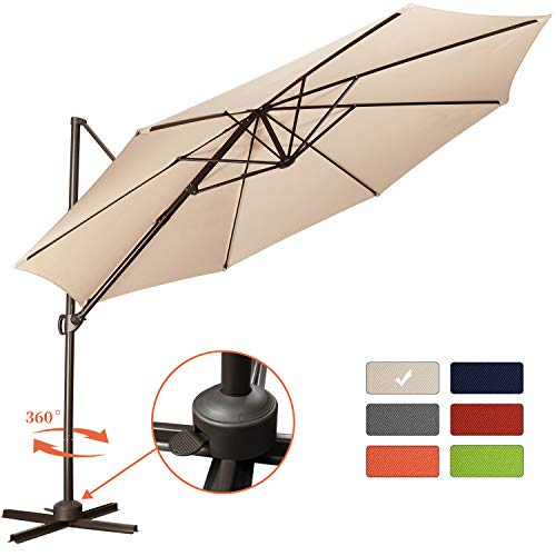 Patio Offset Cantilever Umbrella 10-Feet Outdoor Patio Hanging Umbrella,360 Degree Rotation with...
