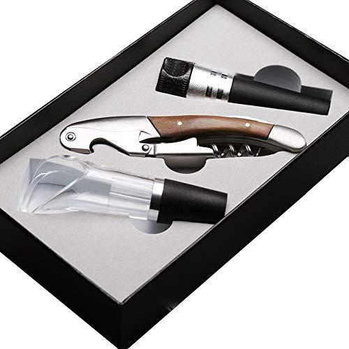WWWANG Abrelatas del Vino 3-Piezas Profesional Camarero Accesorios de Lujo Incluye Caja de Regalo Presente una Navidad Almacenamiento pequeño, práctico y portátil (Size : 19 * 11.3 * 4cm)