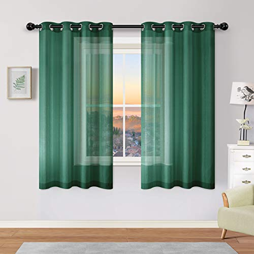 Hunter Green Sheer Curtains 63 Inch Length for Girls Room Decoration Decor 2 Panels Grommet Window Voile Drapes Semi Sheer Forest Curtains for Living Room Bedroom 52x63 Inches Long