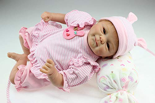 Pinky Soft Vinyl Silicone 17 Inch 43cm Real Looking Lifelike Reborn Baby Doll Realistic Newborn Dolls Girl Toy Magnet Pacifier Xmas Gift