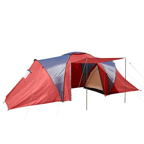 Campingzelt Loksa, 6-Mann Zelt Kuppelzelt Igluzelt Festival-Zelt, 6 Personen - rot