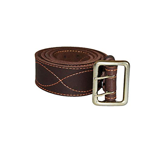 Men's Leather Brown Belts with Double Prong Buckle | Extra Wide 2 Inch Belt for Jeans | Heavy Duty Work Belt for Military Police Officer Sheriff Cowboys | Best Handmade Men's Leather Gift