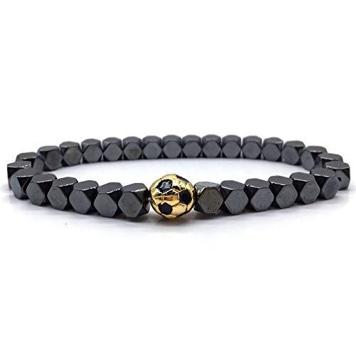 CHCO Pulsera de bolas de fútbol y corona de los hombres pulseras de cuentas de moda clásica con cuentas pulseras y brazaletes para hombres joyería regalo 5