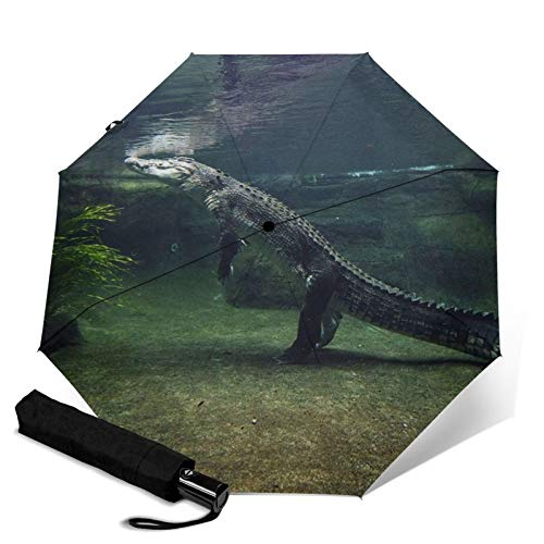 Crocodile,Waterproof Automatic Folding Umbrella Manual Tri-Fold Umbrella Portable Compact Umbrella for Daily