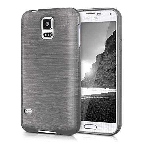 kwmobile Cover compatibile con Samsung Galaxy S5 / S5 Neo - Custodia in silicone TPU - Back Case protezione posteriore cellulare - alluminio spazzolato antracite/trasparente