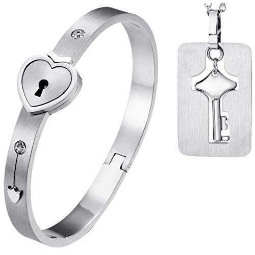 korean beauties LOVE Beauties His and Hers Matching Set Couple Titanium Only You Have My Key Bangle Bracelet Magnetic Simple Korean Style Anti-Fatigue in a Gift Box