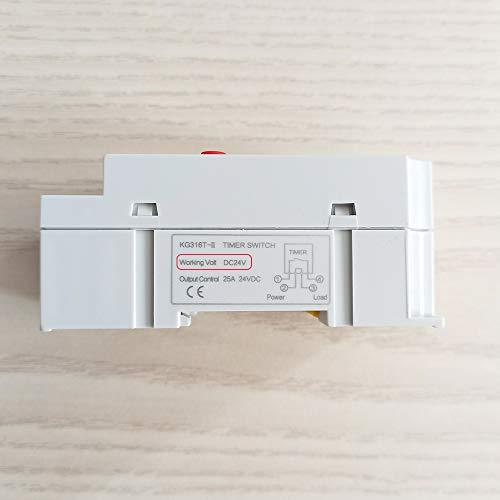 HUYANJUN, Interruptor de Temporizador Digital KG316T-II 12V 24V 110V 220V 7 días Programable 24 Horas Tiempo Relé de Salida Carga de Alta Potencia 30A (Color : 24V DC AC)