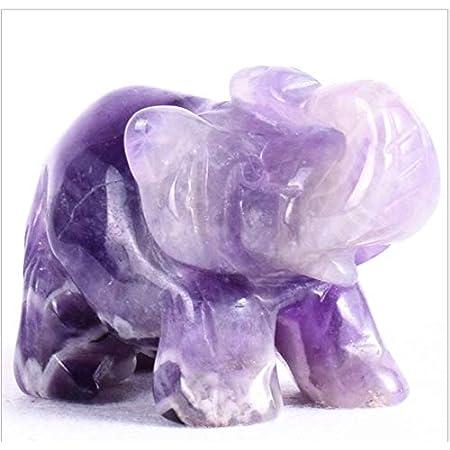 "Hand Carved Healing Gemstone Crystals 1.5"" Guardian Elephant Figurines Status (Amethyst)"